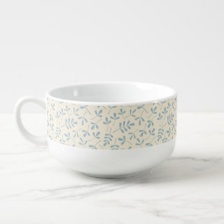 Assorted Leaves Blue on Cream Pattern Soup Mug