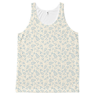 Assorted Leaves Blue on Cream Rpt Pattern All-Over-Print Tank Top