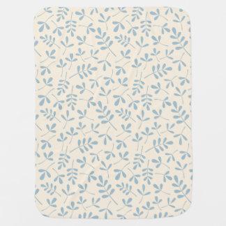 Assorted Leaves Blue on Cream Rpt Pattern Baby Blanket