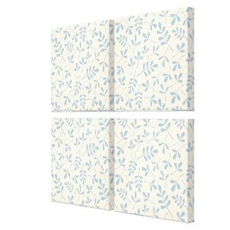Assorted Leaves Blue on Cream Rpt Pattern Canvas Print