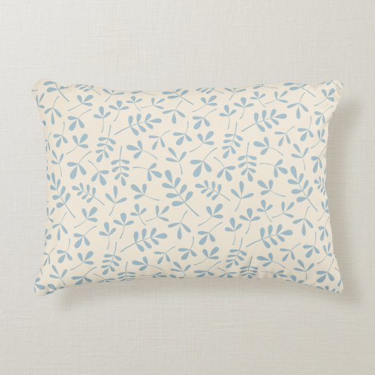 Assorted Leaves Blue on Cream Rpt Pattern Decorative Pillow