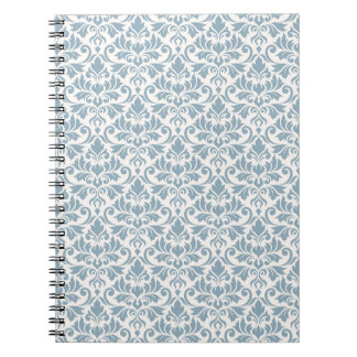 Assorted Leaves Blue on Cream Rpt Pattern Spiral Notebook