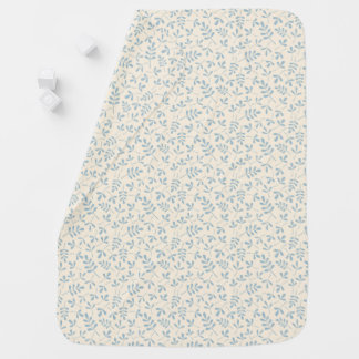 Assorted Leaves Blue on Cream Sml Pattern Baby Blanket