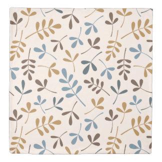 Assorted Leaves Blues Gold Brown on Cream Lg Ptn Duvet Cover