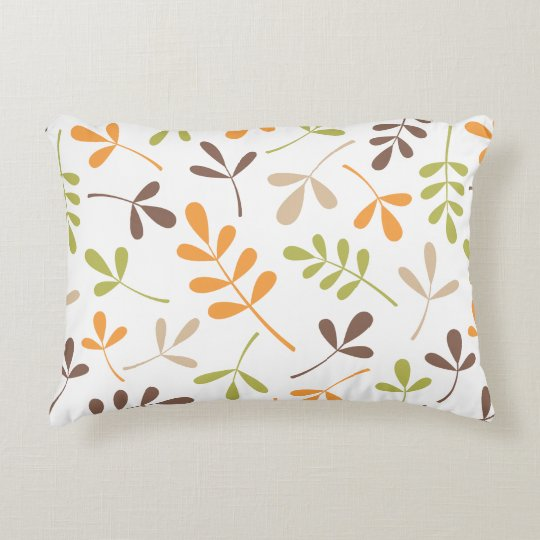 Assorted Leaves Brown Orange Green Sand White Accent Pillow
