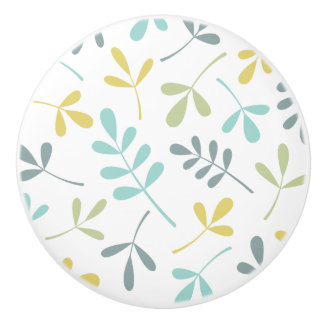 Assorted Leaves Color Mix on White Ceramic Knob