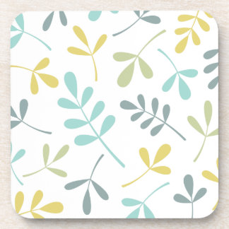 Assorted Leaves Color Mix on White Coaster