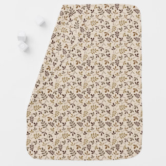 Assorted Leaves Gold Browns Cream Sml Pattern Baby Blanket