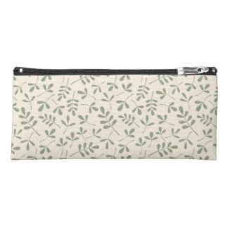 Assorted Leaves Green on Cream Pattern Pencil Case