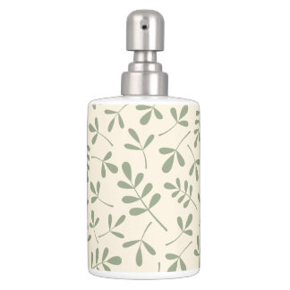 Assorted Leaves Green on Cream Pattern Soap Dispenser And Toothbrush Holder