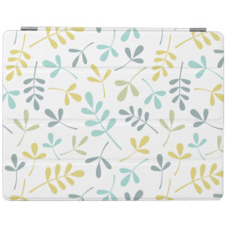 Assorted Leaves (H) Pattern Color Mix on White iPad Cover