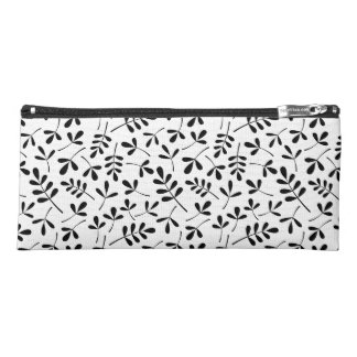 Assorted Leaves Pattern Black on White Pencil Case