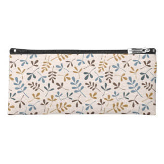 Assorted Leaves Pattern Blues Brown Gold Cream Pencil Case