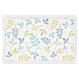 Assorted Leaves Pattern Color Mix on White Acrylic Tray