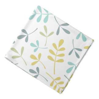 Assorted Leaves Pattern Color Mix on White Bandana