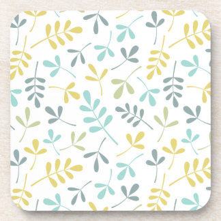 Assorted Leaves Pattern Color Mix on White Beverage Coaster
