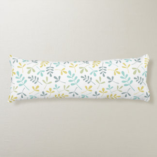 Assorted Leaves Pattern Color Mix on White Body Pillow