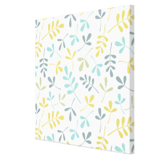 Assorted Leaves Pattern Color Mix on White Canvas Print