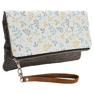 Assorted Leaves Pattern Color Mix on White Clutch