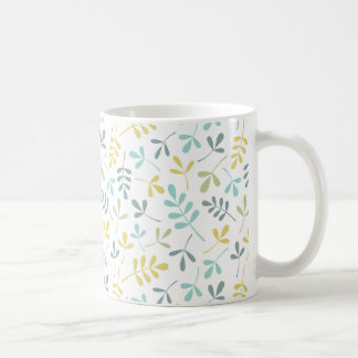 Assorted Leaves Pattern Color Mix on White Coffee Mug