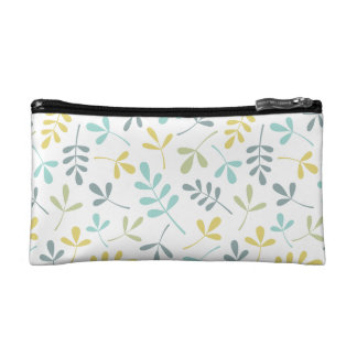 Assorted Leaves Pattern Color Mix on White Cosmetic Bag