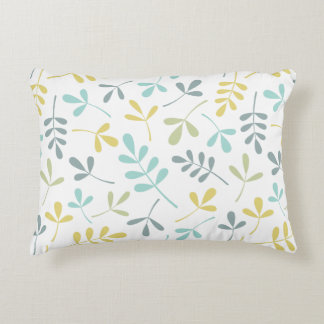 Assorted Leaves Pattern Color Mix on White Decorative Pillow