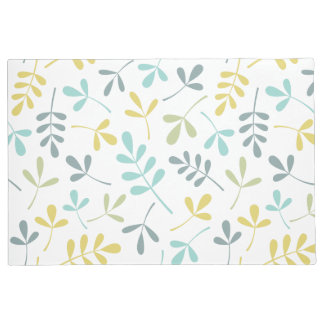 Assorted Leaves Pattern Color Mix on White Doormat