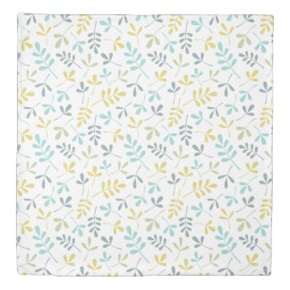 Assorted Leaves Pattern Color Mix on White Duvet Cover