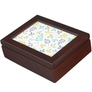 Assorted Leaves Pattern Color Mix on White Keepsake Box