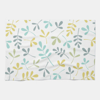 Assorted Leaves Pattern Color Mix on White Kitchen Towel