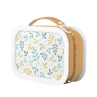 Assorted Leaves Pattern Color Mix on White Lunch Box