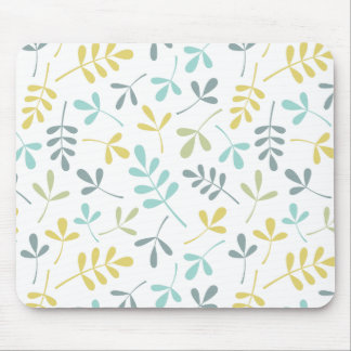 Assorted Leaves Pattern Color Mix on White Mouse Pad