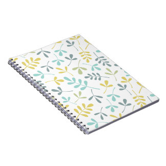 Assorted Leaves Pattern Color Mix on White Notebook