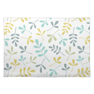 Assorted Leaves Pattern Color Mix on White Placemat