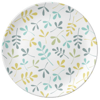 Assorted Leaves Pattern Color Mix on White Plate