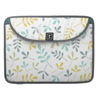 Assorted Leaves Pattern Color Mix on White Sleeve For MacBooks