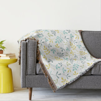 Assorted Leaves Pattern Color Mix on White Throw Blanket