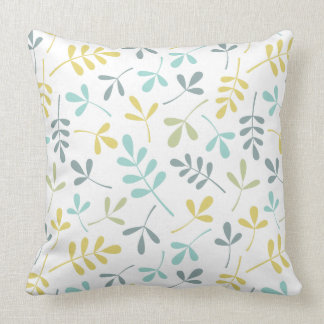 Assorted Leaves Pattern Color Mix on White Throw Pillow