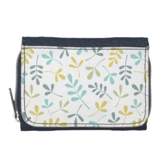 Assorted Leaves Pattern Color Mix on White Wallets