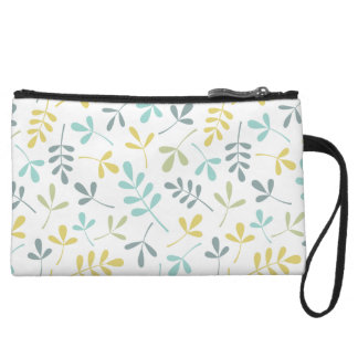 Assorted Leaves Pattern Color Mix on White Wristlet