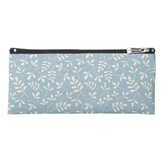 Assorted Leaves Pattern Cream on Blue Pencil Case