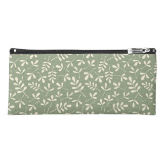 Assorted Leaves Pattern Cream on Green Pencil Case