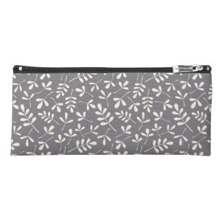 Assorted Leaves Pattern Cream on Grey Pencil Case