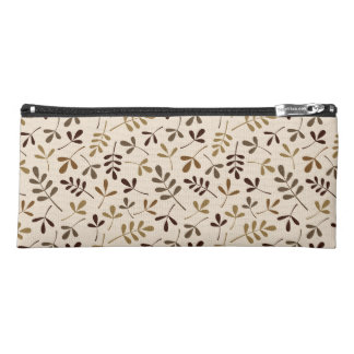 Assorted Leaves Pattern Gold Browns Cream Pencil Case