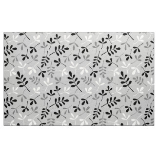 Assorted Leaves Pattern Monochrome Fabric