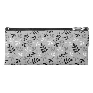 Assorted Leaves Pattern Monochrome Pencil Case