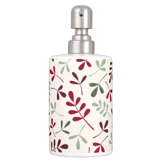 Assorted Leaves Pattern Reds & Greens on Cream Soap Dispenser And Toothbrush Holder