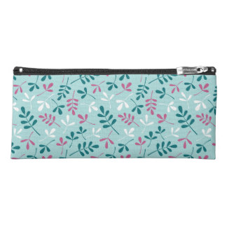 Assorted Leaves Pattern Teals Pink White Pencil Case