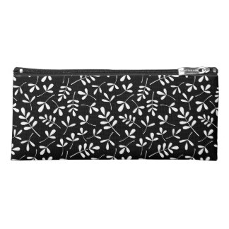 Assorted Leaves Pattern White on Black Pencil Case