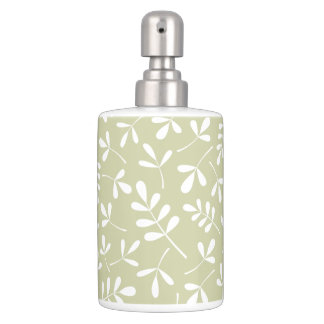 Assorted Leaves Pattern White on Lime Bathroom Set